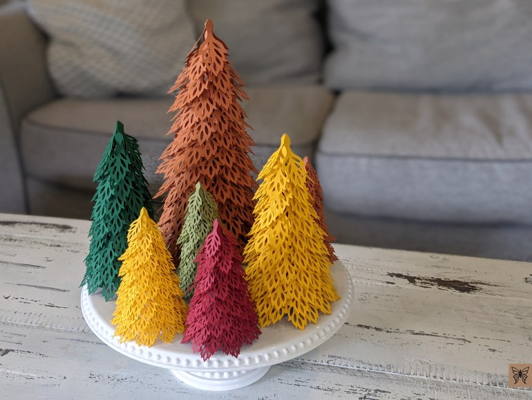 Fall Table centerpiece, woodland paper trees svg