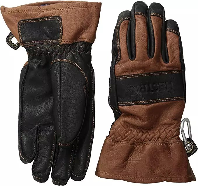 Hestra Men's and Women's Ski Gloves: Army Leather 3-Finger Winter Mitten