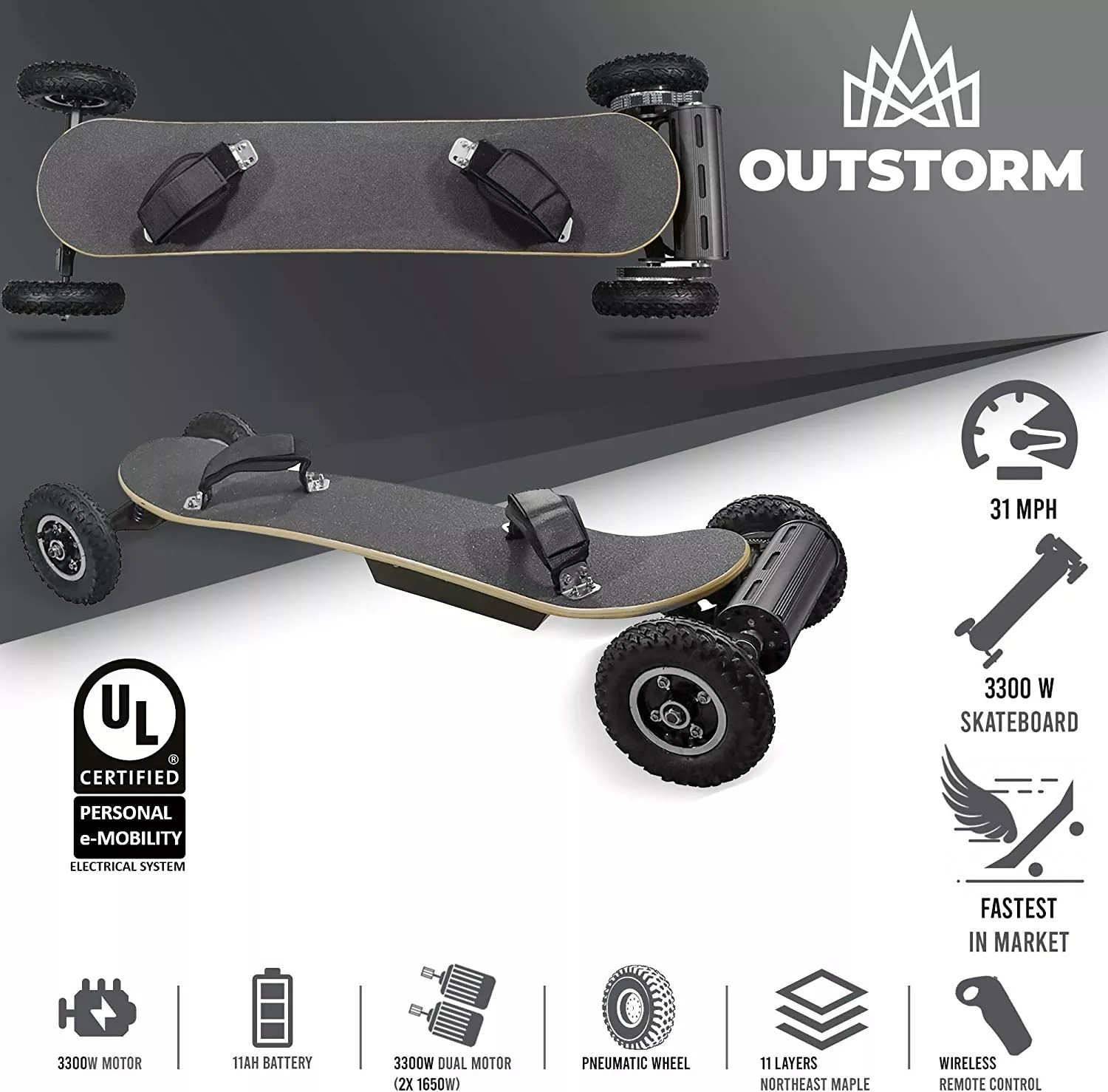 OUTSTORM 31MPH Off Road Electric Skateboard