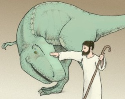 Man and dinosaur lived together peacefully around 2000 BC. (Illustration by Peggy Miller)