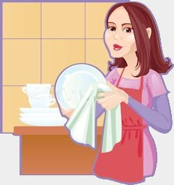 Dish Girl. Stock image.