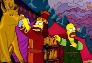 Homer Simpson and the 8th Commandment. Homer gets an illegal cable hook-up which Lisa refuses to watch, for fear of losing her soul.