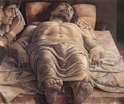 The Lamentation of Christ, c. 1480. Italian Renaissance artist Andrea Mantegna.