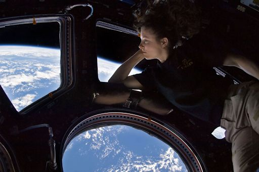Tracy Caldwell Dyson in the Cupola of the International Space Station - Sept 11, 2010