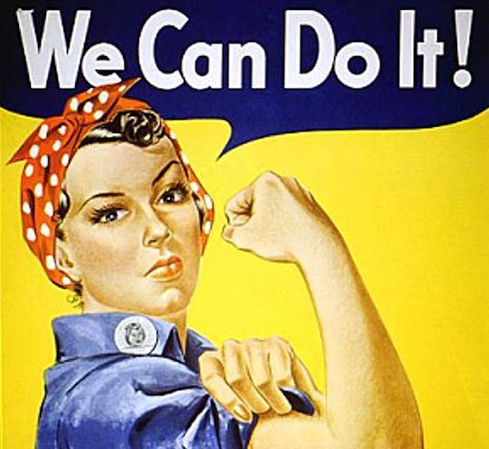 Rosie the Riveter is a cultural icon of the United States representing women who worked in factories during World War II (artist J. Howard Miller 1942).