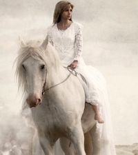 The lady and white horse - wallpaper