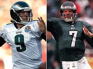 Competing Eagles Nick Foles and Jeff Garcia