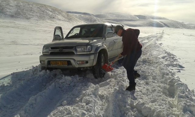 """""""Road"""" can be a relative term in the Kyrgyz mountains - but Kuban comes prepared!"""