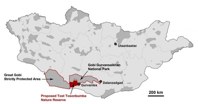 A map of Mongolia, showing the proposed area for Tost Nature Reserve (red) and existing Protected Areas (dark grey).