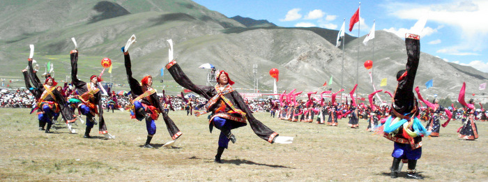 Dancers at the Yushu Horse Festival in Jyekundo, Kham