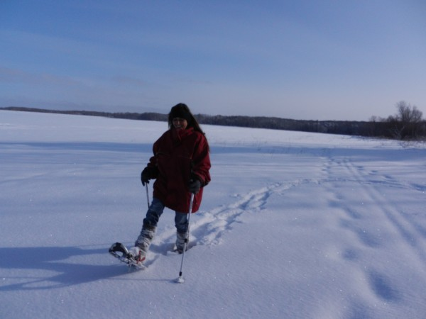 Snowshoeing on the Big Eau Pleine.