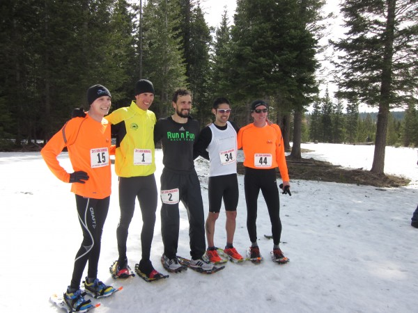 The top five senior men's 10K finishers, from left to right:  Cole Crosby, Cortland, New York, finished fourth; Josiah Middaugh, Vail, Colorado, finished first; Eric Hartmark, Duluth, Minnesota, finished second, Mario Mendoza, Bend, Oregon, finished third; and Ryan Phillips, Sturgis, South Dakota, finished fifth.