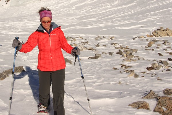 Snowshoeing in the hibiscus colored Whirlibird jacket