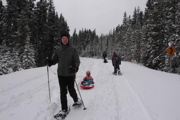 Snowshoeing the Cameron Lake Road