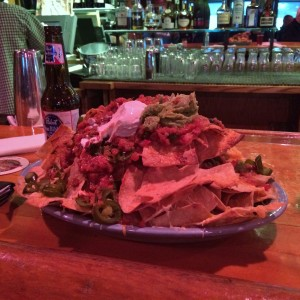 Bison chili nachos at the infamous Mangy Moose saloon.