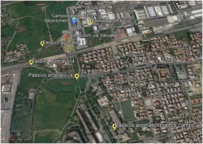 punti di monitoraggio qualità dell'aria campi rom a Roma
