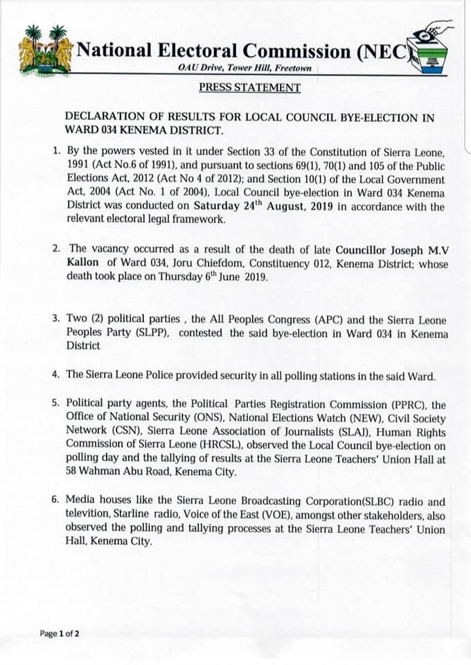 cancellation of constituency 110
