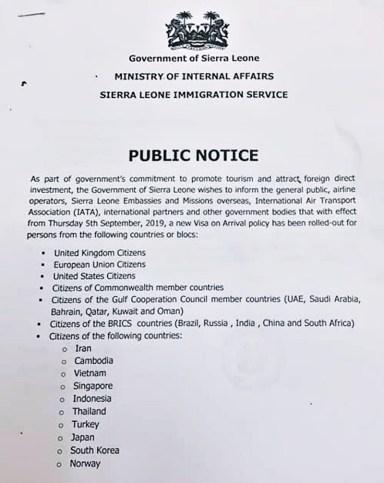 Image result for sierra leone visa on arrival