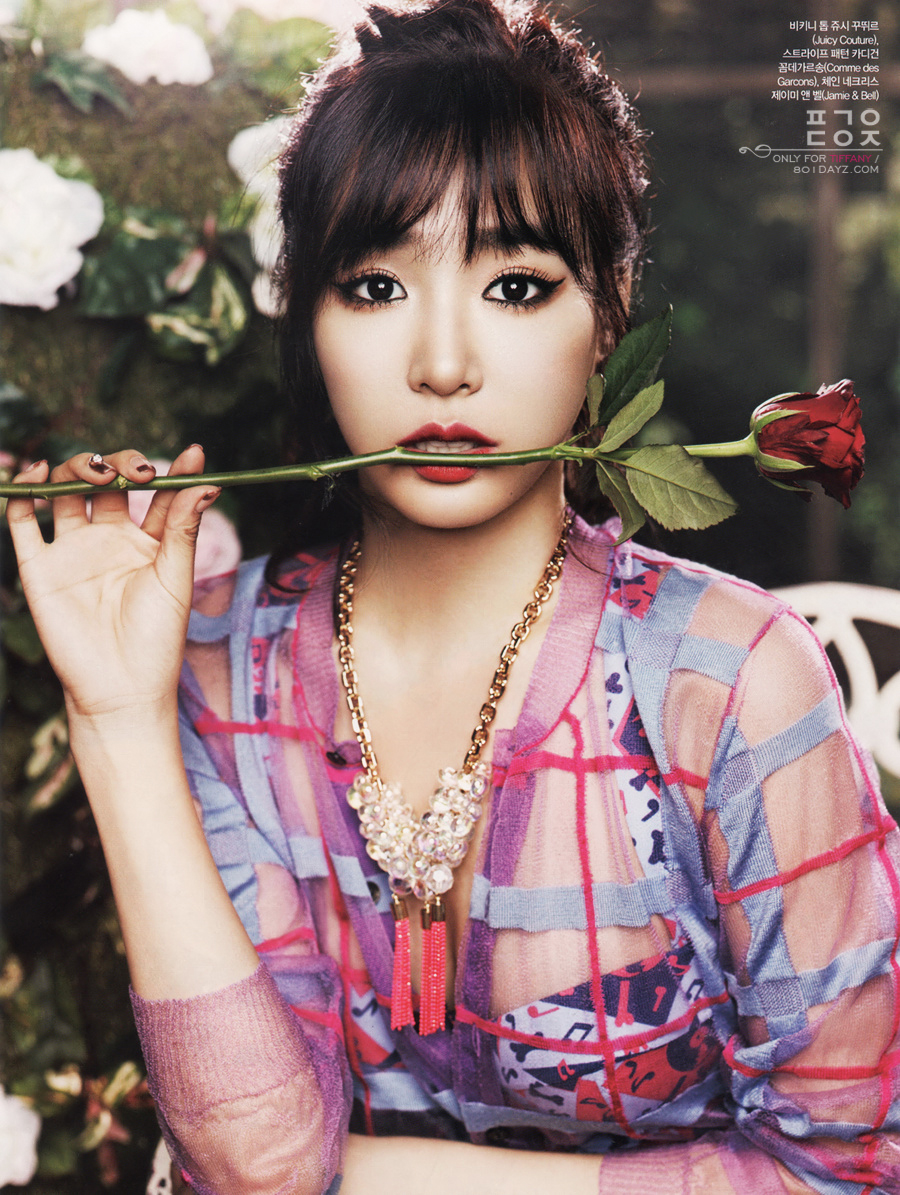 Tiffanys gorgeous floralthemed photoshoot for CeCis August issue  SNSD Korean
