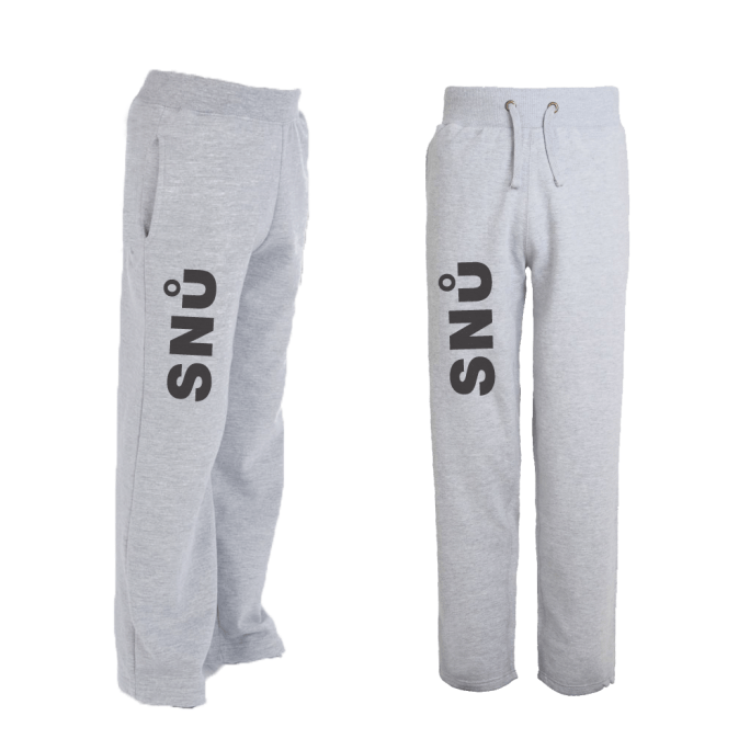 Snu Wear - Grey joggers tracksuit bottoms with black logo