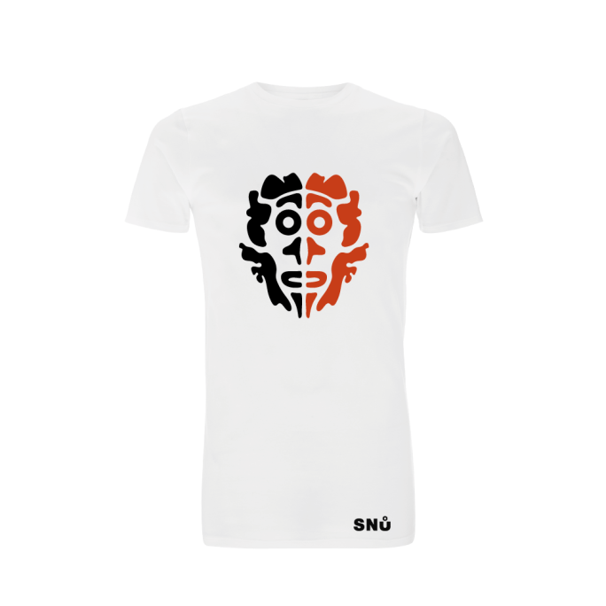 Two Faced tribal red and white long line Tshirt by Snu Wear
