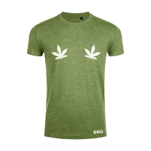 Hemp leaf boob tshirt by Snu Wear CBD tee