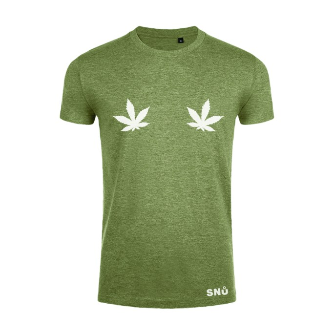 Hemp leaf boob tshirt by Snu Wear CBD tee
