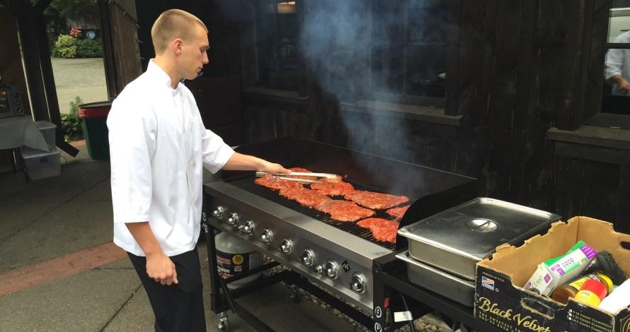 grilled flank steak for buffet dinner
