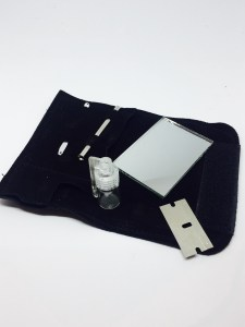 Suede Snuff Kit with separate mirror for snorting