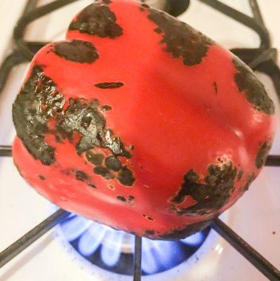 Roasting pepper on gas range