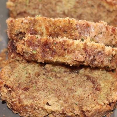 Snickerdoodle Zucchini Bread on Gray Platter