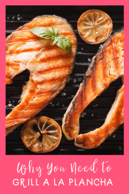 salmon and lemon slices on a plancha grill