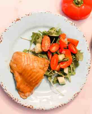 Maple Dijon Salmon & Salad on a blue plate