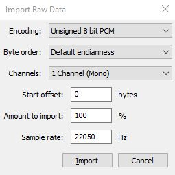 Simmons SDS 7 Import in Audacity