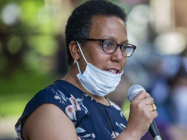 High school English teacher Dorene Wilbur speaks at a Black Lives Matter rally June 3 at Dickinson College in Carlisle, Pennsylvania.
