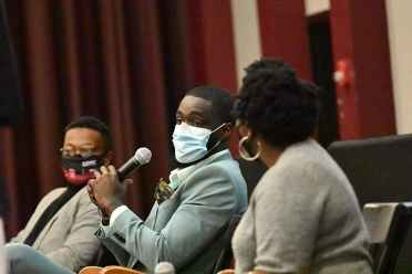 """<p>Brandon Ross speaks at the """"Beneath the Bricks"""" program, an event to celebrate Black History Month on Friday, Feb. 19. The event was hosted by Student Government and the Freshmen Council.</p>"""