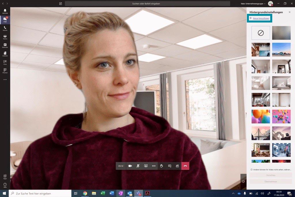 Neuen Hintergrund in Microsoft Team hinzufügen