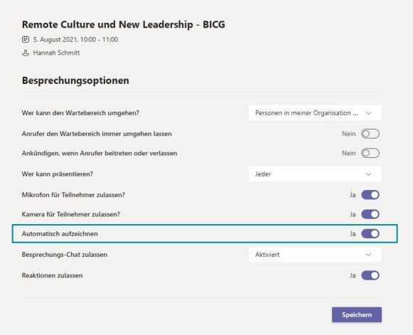 Microsoft Teams Besprechung automatisch Aufzeichnen