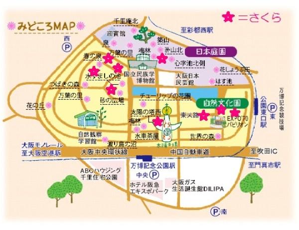 万博記念公園 桜マップ