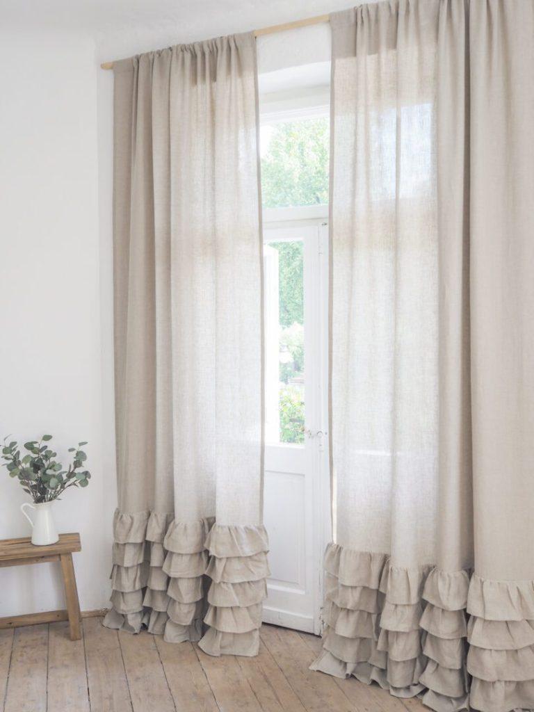 ruffled curtain medium linen natural