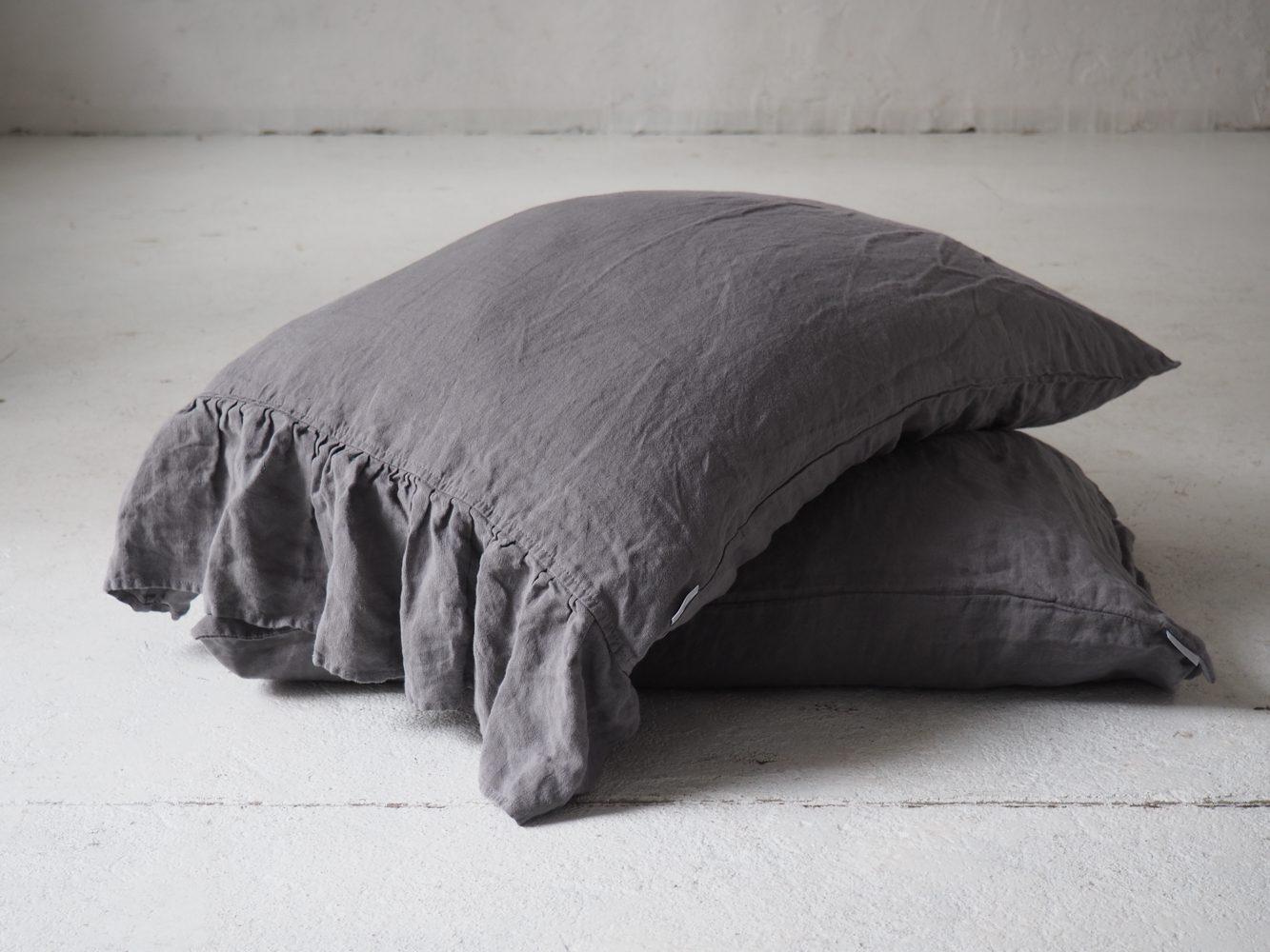 linen pillowcase with side ruffle true gray