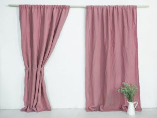 linen curtains dusty pink