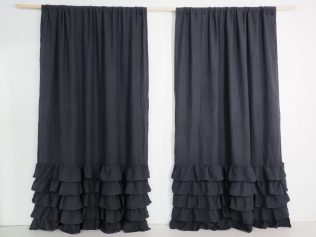 linen curtain with ruffles