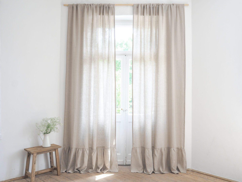 curtain panel with ruffle medium linen natural linen