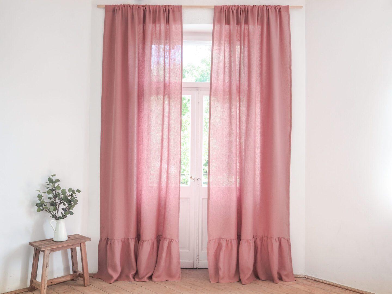 curtain panel with ruffle medium linen dusty pink