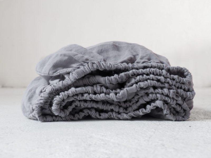 Linen fitted sheet grey
