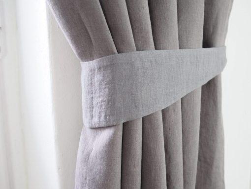 pure white linen curtain tie backs