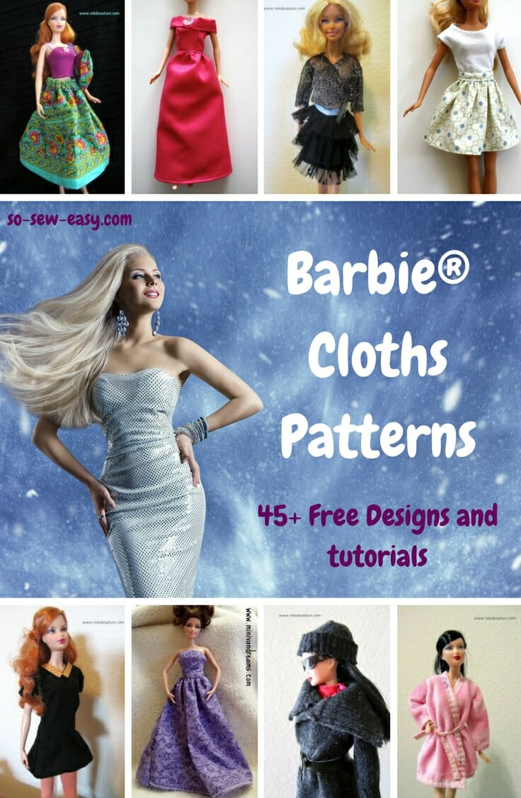 Free Printable Barbie Clothes Sewing Patterns : printable, barbie, clothes, sewing, patterns, Barbie, Clothes, Patterns:, Designs, Tutorials
