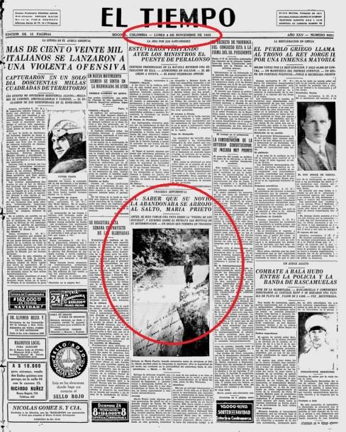 Primera página del periódico El Tiempo, lunes 4 de noviembre de 1935.