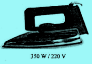 Spesifikasi seterika 350 W / 220 V